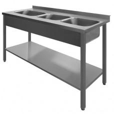N/T galds 2000*600 ar 3 izlietnēm un plauktu